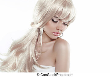 Beautiful blond girl with long hair isolated on white background