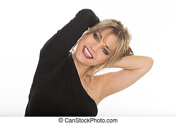 beautiful blond hair woman portrait on studio white isolated