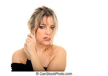 beautiful blond hair woman portrait