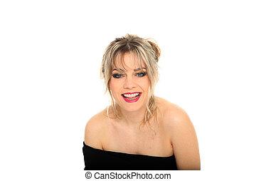beautiful blond hair woman smiling portrait