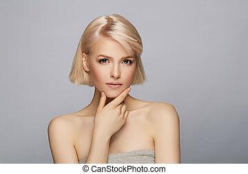 Beautiful blond hair woman