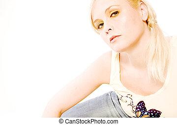 Beautiful blond looking arrogant