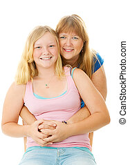 Beautiful Blond Mother and Teenage Daughter
