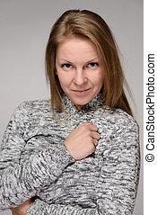 Beautiful blond winter fashion woman