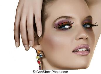 beautiful blond with fake lashes - Beautiful blond woman ...
