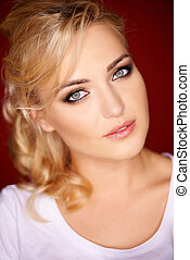 Beautiful blond with grey blue eyes - Beautiful blond woman...