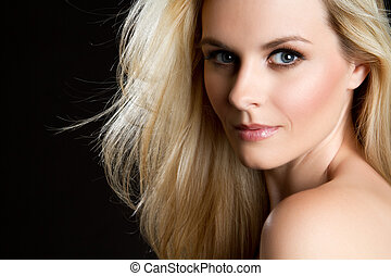 Beautiful Blond Woman - Beautiful blond woman on black