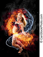 Beautiful blond woman bounded with fire and water