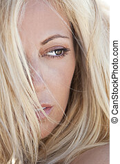 Beautiful Blond Woman Close Up Portrait