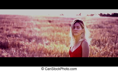 Beautiful blond woman in a red dress, on a wheat field at sunset