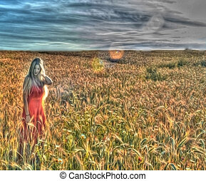 Beautiful blond woman in a wheat field at sunset retouched...
