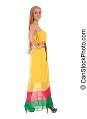Beautiful blond woman in yellow dress