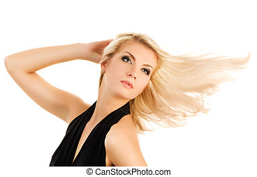 Beautiful blond woman isolated on white background