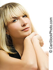 Beautiful blond woman over white background