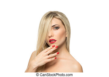 Beautiful Blond Woman Portrait close-up. Hairstyle. Red...