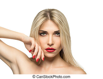 Beautiful Blond Woman Portrait close-up. Hairstyle. Red lips. Manicured nails.