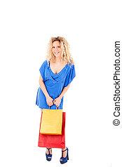 Beautiful blond woman shopping