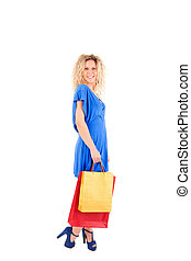 Beautiful blond woman shopping