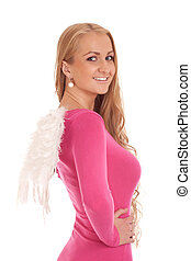 Beautiful blond woman with angel wings