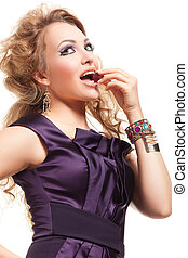 Beautiful blond woman with fashion hairstyle