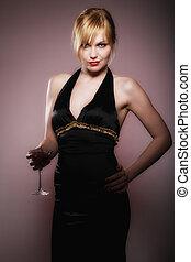 beautiful blond woman with glass