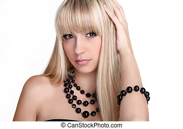 Beautiful blond woman with long hair styling isolated on...