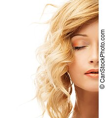 Beautiful blond young woman face isolated on white