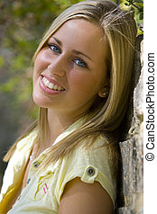 Beautiful Blonde - A beautiful young woman with bright blue...