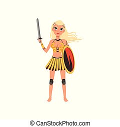 Beautiful blonde amazon girl character, ancient warrior with shield and sword vector Illustration on a white background