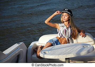 beautiful blonde captain - young beautiful blonde in...
