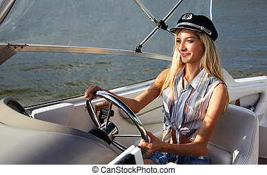 beautiful blonde captain - young beautiful blonde in...