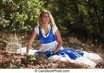 Blonde Caucasian Woman Outdoors