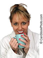 Beautiful Blonde Enjoying Hot Beverage (1)