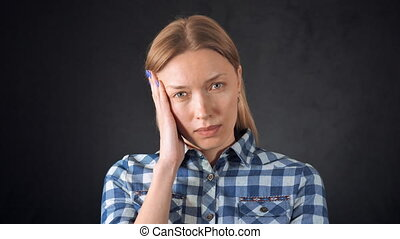 beautiful blonde female be in pain from migraine - portrait...