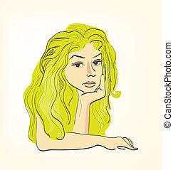 Beautiful Blonde Girl Hand Drawn Sketch