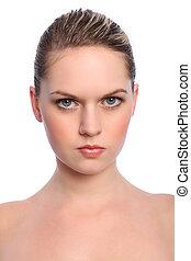 Beautiful blonde girl headshot natural make up