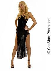 blonde girl in evening dress