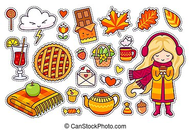 Beautiful blonde girl, plaid, berry pie, autumn leaves, mulled wine, chocolate, kettle, coffee.