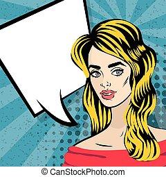 Beautiful blonde girl pop art vintage