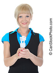 Beautiful blonde girl with a lamp in his hand