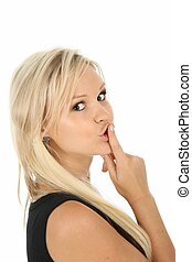 Beautiful Blonde Girl with Finger on Lips