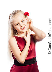 Beautiful blonde girl with rose in hair