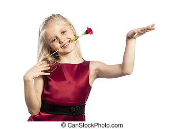 Beautiful blonde girl with rose in mouth