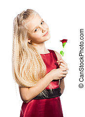 Beautiful blonde girl with rose