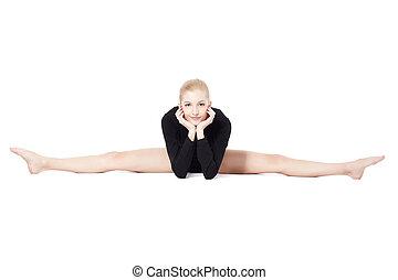 beautiful blonde gymnast - isolated portrait of beautiful...