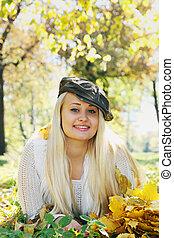 Beautiful blonde in a cap