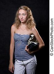 Beautiful blonde in a striped blouse
