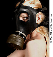 Gas Mask - Beautiful Blonde in Gas Mask...