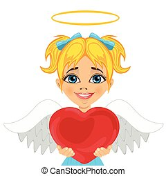 beautiful blonde little girl angel holding red heart