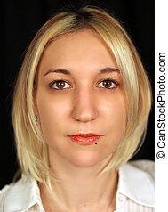Beautiful blonde model, piercing,